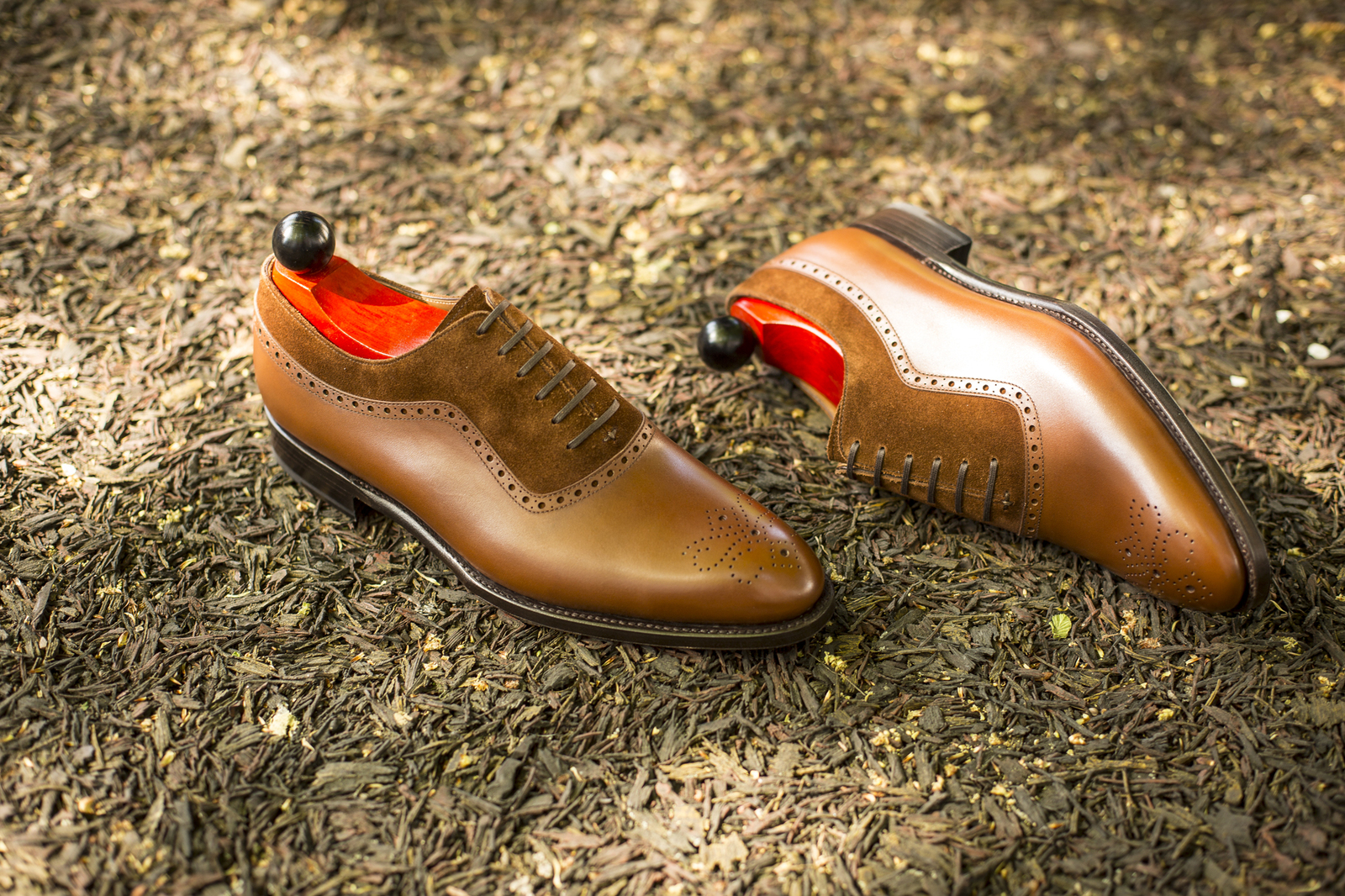 Handmade Men's Tan & Brown Brogues Style Dress/Formal Leather & Suede Shoes