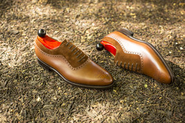 Handmade Men's Tan & Brown Brogues Style Dress/Formal Leather & Suede Shoes image 1