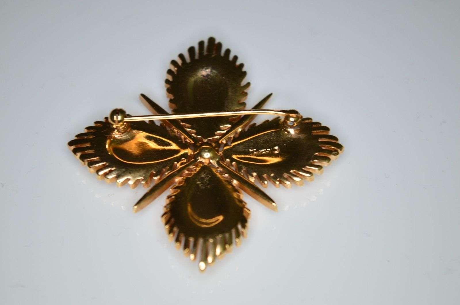 VTG RARE 50's CROWN TRIFARI Clear Rhinestone Maltese Cross Pin Brooch