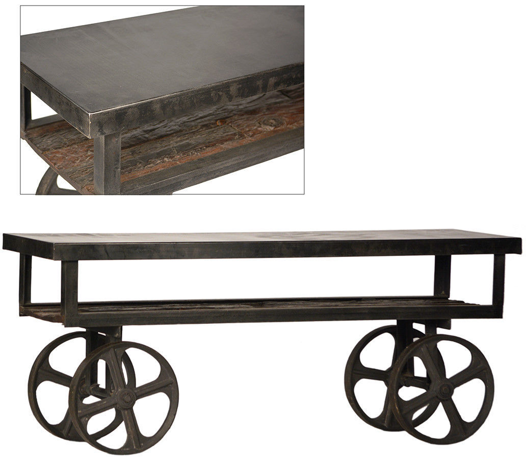 Industrial Tv Stand And Coffee Table: Industrial TV Stand Coffee Table Antique Railroad Cart