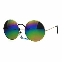 Rainbow Mirror Lens Sunglasses Womens Oversized Round Circle Metal Frame - $8.95