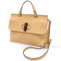 GUCCI Bamboo Daily Medium Handbag Beige Leather 392013 Shoulder Bag Auth... - $974.87