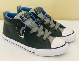 New Converse All-Star Black/Gray Leather Mid Juniir Sneakers Size 3 - $32.73