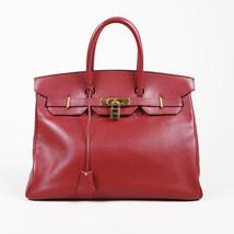 "Vintage Hermes ""Birkin 35"" Rouge Vif Courchevel Leather Bag - $10,010.00"