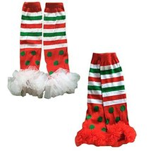 Set of 2 Christmas Style Lace Ruffle Baby Leg Wamers Comfy Leg Guards,0-8Years