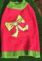 """Doggy SWEATER Pink Green """"BOWS"""" PUPPY/DOG Medium Clothing - $15.64"""