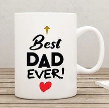 Best Dad Ever Coffee Mug Heart in Blue Ribbon Gift Box - 11 oz - $12.10