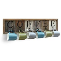 HBCY Creations Rustic Coffee Mug Rack Wall Mounted, Printed Coffee Sign - 6 Coff