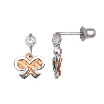 14K White & Rose Gold Diamond Cut Dangle Screw Back Earrings  - $64.99
