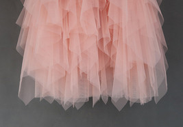 Love Me More Tulle Layered Skirt Pink High Low Long Layered Tulle Skirt Adults image 3