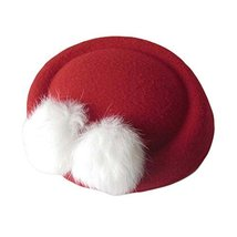 Wool Fedora Hat Small Hat Hairpin Side Clip Hair Accessories, Red Cravat