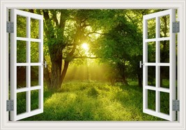 3D Window View Forest Landscape in Four Seasons 3D Wall Sticker Green Go... - $23.48