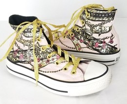 Converse High Top Chuck Taylor Shoes 6 Pink Gold Chains Sneakers - $49.49