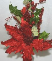 Unbranded 999367 Green Red Poinsettia  Holly Berries Christmas Decoration image 3