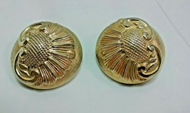 """Vintage Jewelry: 1 1/2"""" Gold Tone Thistle Clip On Earrings 01-23-2019 - $8.99"""