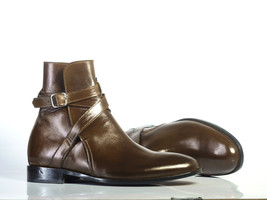Handmade Men's Brown Leather High Ankle Monk Strap Jodhpurs Boots image 4
