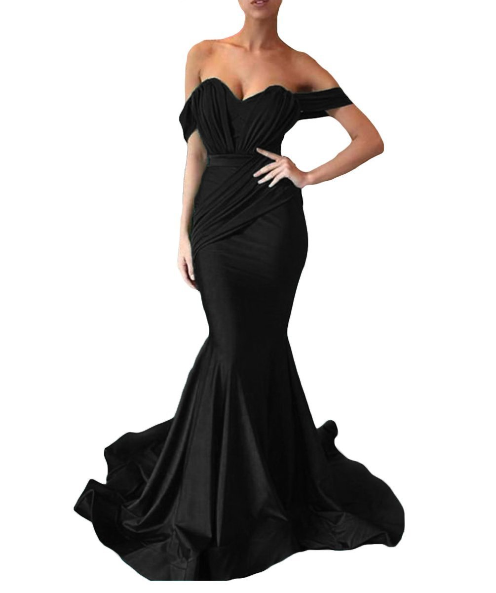 Women's Off the Shoulder Mermaid Evening Dresses Long Spandex Formal Party Gown