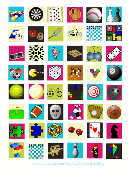 """board games toys clipart collage sheet 1"""" squares graphics digital download art"""