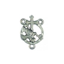 PEACE DOVE ROSARY PART  FINE PEWTER CHARM PENDANT - 19mm  x 13mm x 4mm