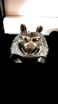 big wolf ring, heavy sterling silver ring 3d effect open mouth wolf ring