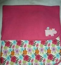 Gymboree Hippo Pink Floral Baby Blanket Receiving Hippopotamus Flower Cotton - $59.39