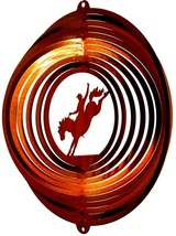 12 in stainless steel copper Bucken Bronco USA 3D hanging wind spinner, spinners - $32.00