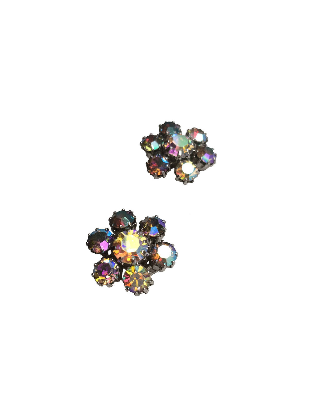 50s-60s WEISS Signed Sparkling Rhinestone Earrings W/ Aurora Borealis Shimmer, W