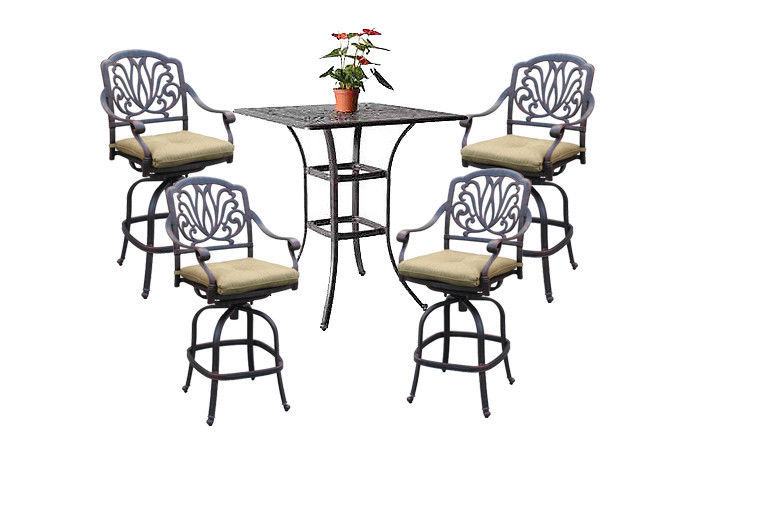 "5pc patio bar set cast aluminum furniture 36"" square table 4 swivel bar stools"