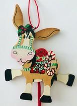 Cute Wood Donkey Burro Christmas Ornament Pull String Ears & 2 Legs Go U... - $9.74