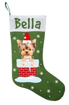 Yorkshire Terrier Christmas Stocking - Personalized Yorkie Stocking - Green - $29.99
