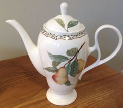 Noritake Royal Orchard Coffee Pot & Lid Fruit Vines Japan Chip Under Spout - $65.44