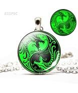 Glow In Dark Yin Yang Dragon Necklace Glass Cabochon Charms Luminous Nec... - $8.10
