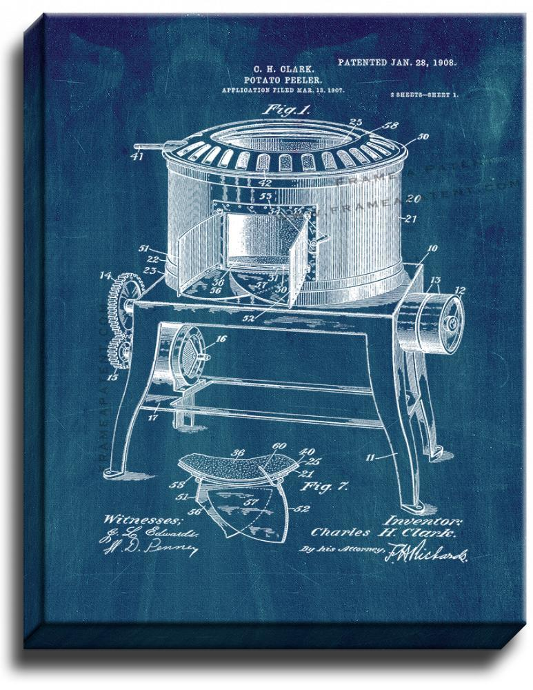 Primary image for Potato-peeler Patent Print Midnight Blue on Canvas