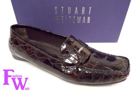 STUART WEITZMAN Size 8 Cola Brown Alligator Print Patent Moccasins Loafers Shoes - $61.20