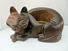 Vintage Mid Century Modern heavy wood ashtray or desk holder hand carved... - $40.00