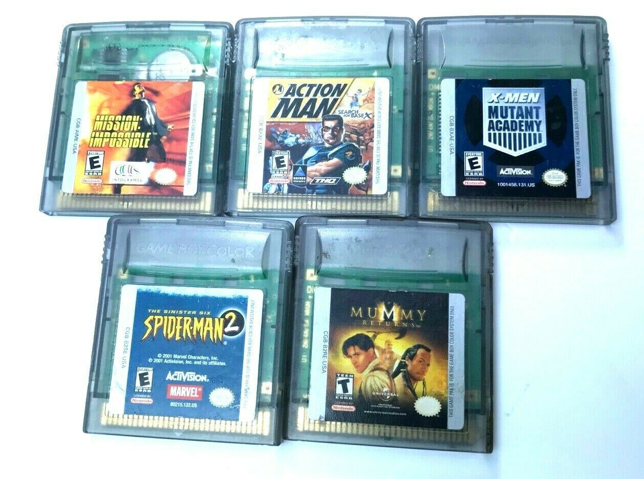 Lot of 5 Nintendo Game Boy Color Games Mission Impossible X-men Spiderman Mummy