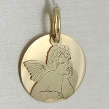 Pendant Medal Round 750 18k Yellow Gold, Double Layer Guardian Angel, Satin image 1