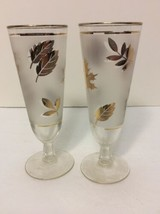 Vintage Mid Century Gold Leaf Glasses Libbey Tall Tapered Goblets 2 glasses - $18.96