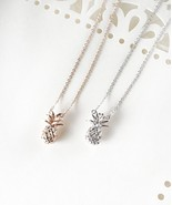 Pineapple Necklace, Rose Gold Pineapple Necklace, Silver Pineapple Neckl... - $18.02