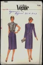 UNC Easy 80s Sz 14 Bust 36 Dress Jacket Vogue 7892 Pattern Retro Vintage... - $7.99