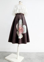 Black Midi Party Skirt with Pockets A-line Floral Black Party Skirt Outfit image 2