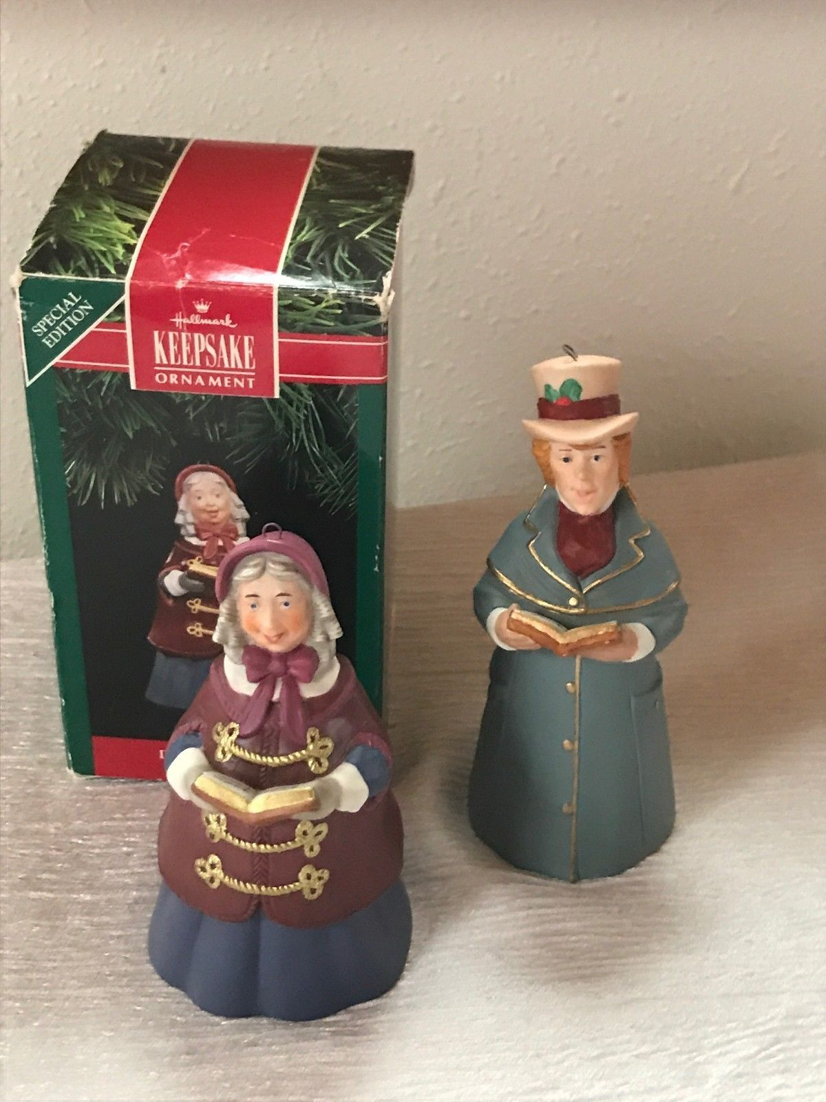 Lot of 2 Hallmark Fine Porcelain LORD CHADWICK Mrs. Beaumont Bell Tree Ornament