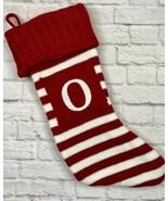 "Letter Initial Monogram O 19"" Striped Knit Stocking Pocket Wondershop Christmas - $10.88"