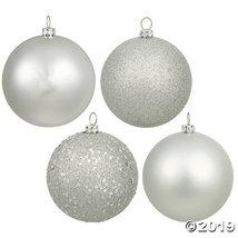 "Vickerman 3"" Silver Splendor 4-Finish Christmas Ornament - 32/Box - $44.00"