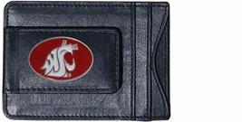 washington state cougars logo ncaa college emblem leather cash & cardholder - $27.07