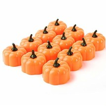 Beichi Set of 12 LED Halloween Pumpkin Lights with Flickering Bulb - $9.70