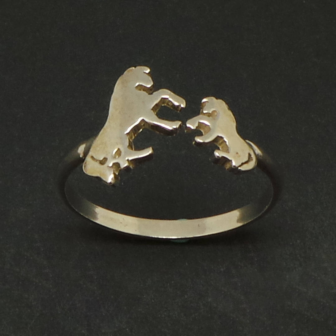 Handmade 925 Sterling Silver Mother Daugther Horses Ring