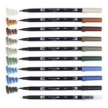 Tombow ABT Dual Brush Pens (Brush Tip + 0.8mm Fine Tip) 10-Color Set, Landcape,  - $33.99