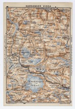 1914 ORIGINAL ANTIQUE MAP OF HARDANGERVIDDA HARDANGERJOEKULEN GLACIER NO... - $14.26