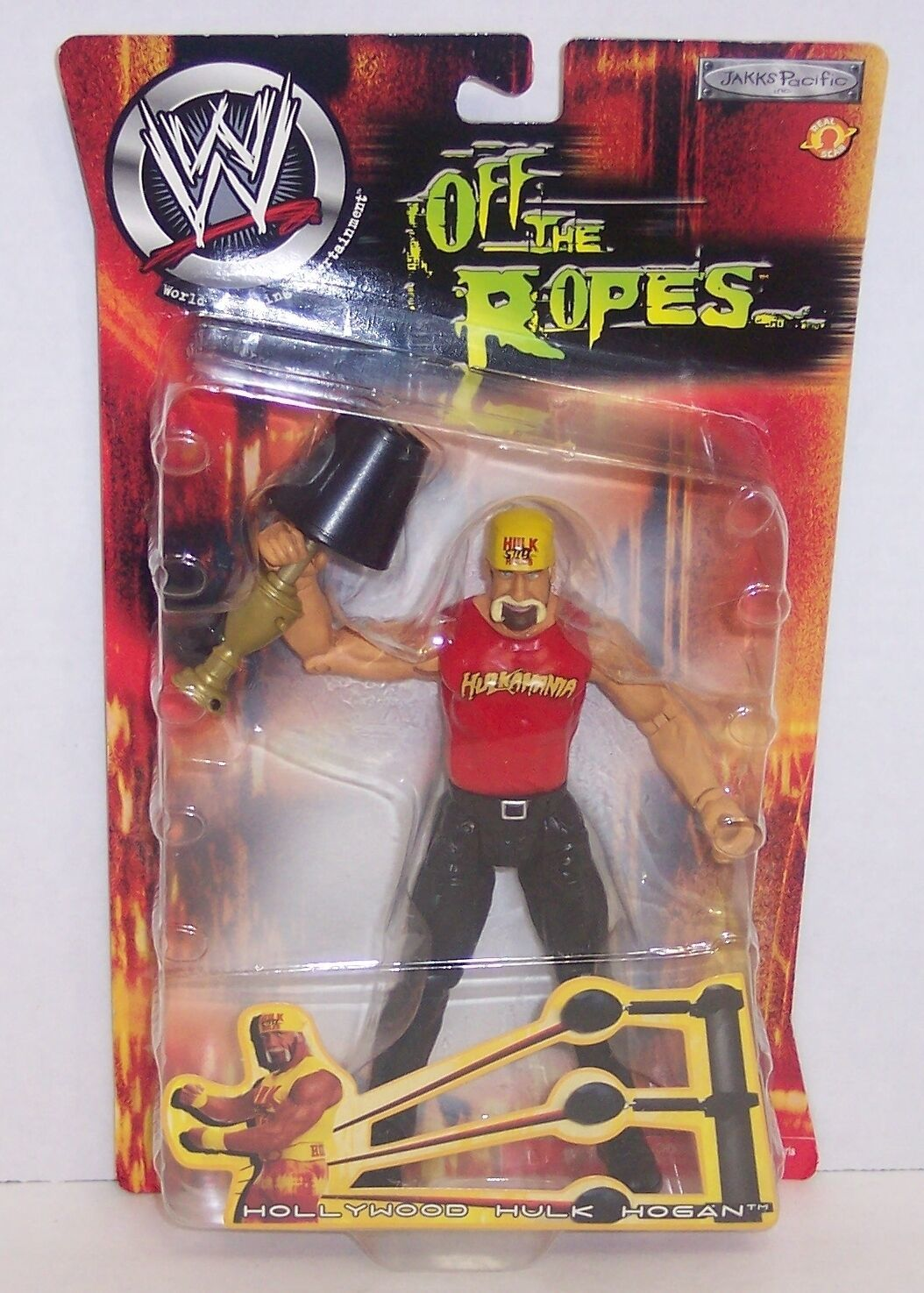 "NEW! 2002 Jakk's Off The Ropes ""Hollywood Hulk Hogan"" Action Figure WWE {1093}"